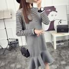 Set: Striped Long-sleeve Knit Top + Ruffle Hem Pinafore Dress