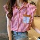 Striped Applique Sleeveless Shirt