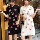 Pig Printed Polo Shirt Dress