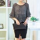 Set: Layered Dotted Top + Pencil Skirt
