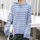 Striped Cutout Knit Hoodie