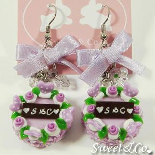 S&c Sweet Ribbon Purple Rose Cake Earrings
