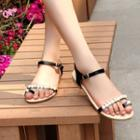 Faux-leather Beaded Flat Sandals
