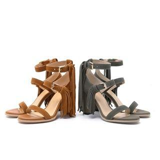 Genuine Leather Fringed High-heel Sandals