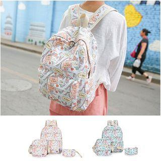 Set Of 3: Pattern Backpack + Cross Bag + Small Pouch