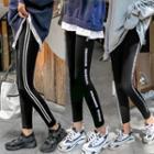 Contrast Trim Skinny Pants / Lettering Skinny Pants