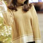 Color-block Striped Knit Sweater