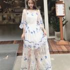 Embroidered Elbow-sleeve Sun Dress