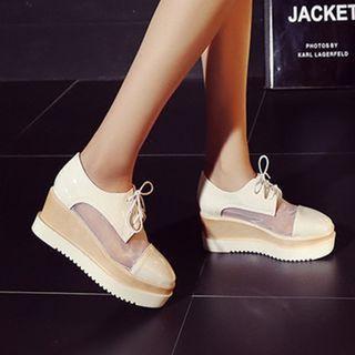 Mesh Panel Lace-up Platform Shoes