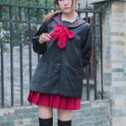 Bow Accent Sailor Collar Coat