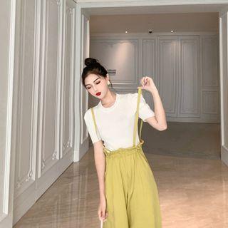 Plain Short-sleeve T-shirt White - Top - One Size