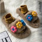 Flower Applique Furry Slippers