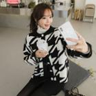 Round-neck Houndstooth Cardigan