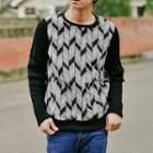 Patterned Panel Knit Top