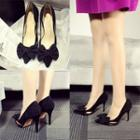 Genuine-leather High Heel Bow-accent Pumps