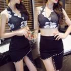 Set: Printed Halter Crop Top + Studded Pencil Skirt