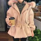Faux-fur Hooded Drawstring-waist Jacket