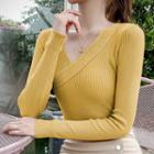 Glitter V-neck Rib Knit Top