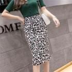 Leopard Print Slit-back Midi Pencil Skirt