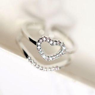 Rhinestone Ring Type B - Rose Gold - One Size