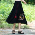 Embroidered Midi Flared Skirt