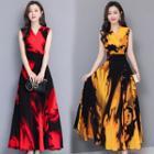 Sleeveless Printed Chiffon A-line Maxi Dress