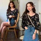 Balloon-sleeve Floral Print Blouse Black - One Size