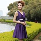 Sleeveless Bow-accent Party Dress