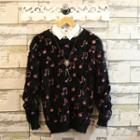 Printed Long-sleeve Furry-knit Top