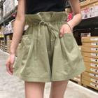 Plain Drawstring Paperbag Waist Shorts