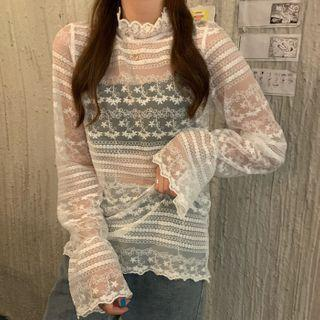 Lace Mesh Semi High-neck Long-sleeve Top White Lace - One Size