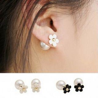 Faux Pearl Flower Earring 1 Pair - Black - One Size