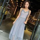 Lace Trim Strappy Maxi Dress