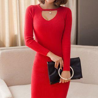 Long-sleeve Cutout Knit Midi Dress