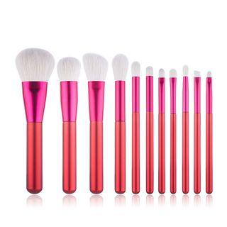 Set Of 12: Makeup Brush Set Of 12: Red & White - One Size