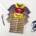 Summer-knit Striped Crop Shirt