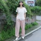 Set: Short-sleeve Asymmetric T-shirt + Harem Pants