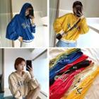 Lettering Print Puff-sleeve Hooded Pullover