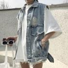 Distressed Collared Denim Vest