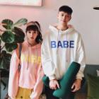 Couple Matching Hooded Lettering Pullover