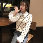 Flare-sleeve Dotted Shirt