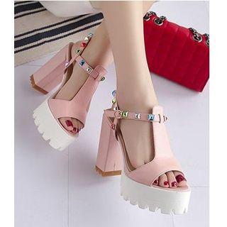 Colorful Rhinestone Block Heel Sandals