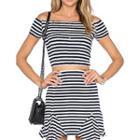 Set: Off-shoulder Striped Top + Skirt Blue - One Size