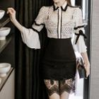 Set: Lace Blouse + Pencil Skirt