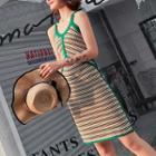 Sleeveless Piped Knit Dress