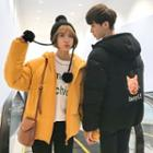 Couple Matching Hooded Padded Zip-up Coat
