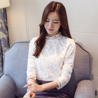 Lettering Long-sleeve Lace Top