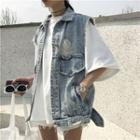 Buttoned Denim Vest As Shown In Figure - One Size