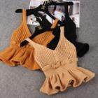 Knitted Peplum Camisole Top