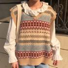 Ruffle Blouse / Patterned Knit Vest